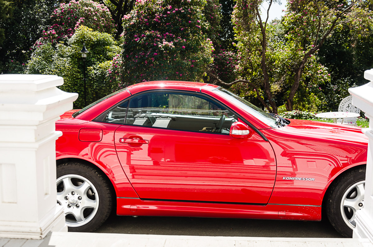 RentAClassic Mercedes SLK Coupe For Hire Side Shot Roof Closed